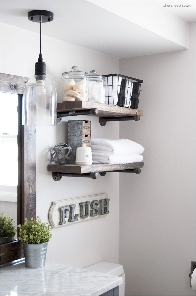 Bathroom Shelves Decorating Ideas 38 How to Build Diy Industrial Pipe Shelves Cherished Bliss 5