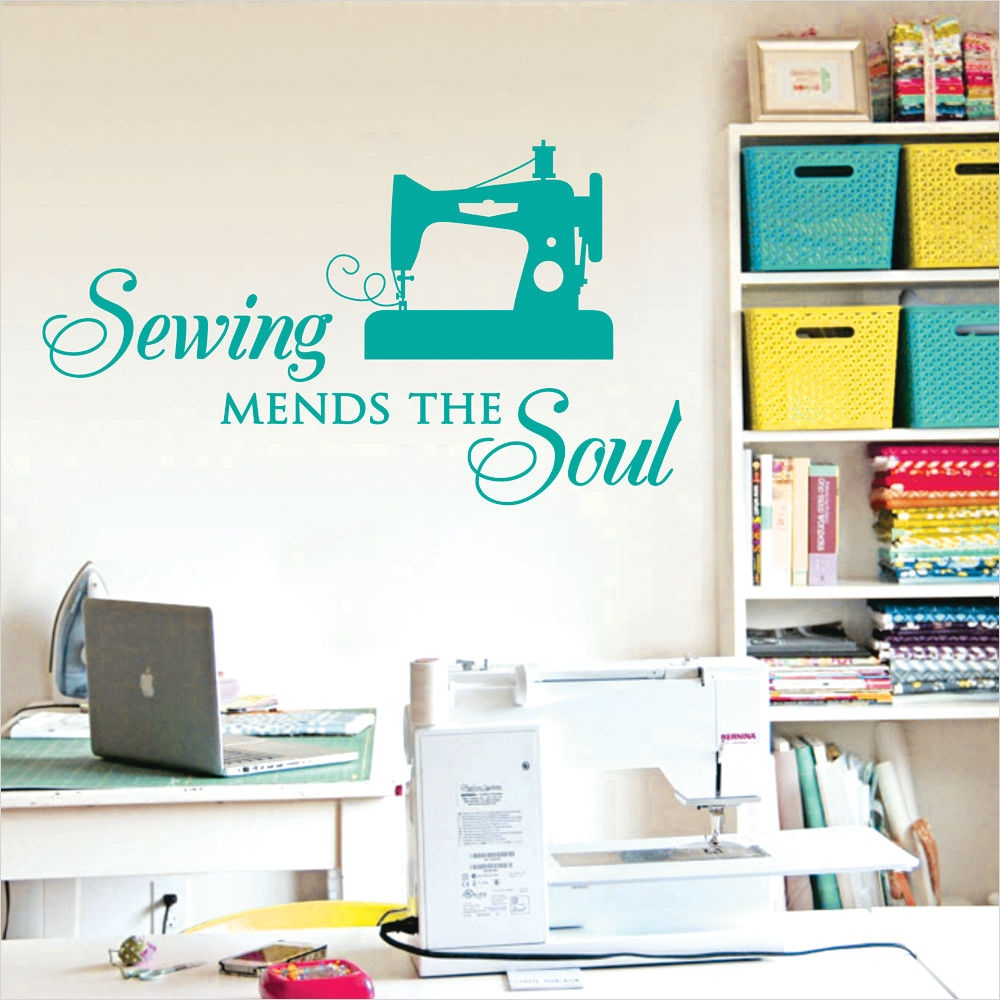 Craft Room Wall Decor 42 Sewing Mends the soul Saying Vinyl Wall Decals Quote Art Decor Craft Room 7