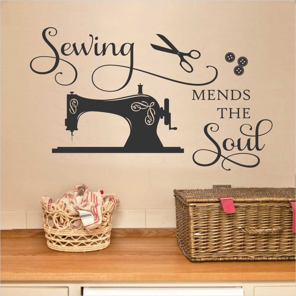 Craft Room Wall Decor 63 Sewing Mends the soul Vinyl Saying Wall Decal Quote Art Craft Room Decor Words 2