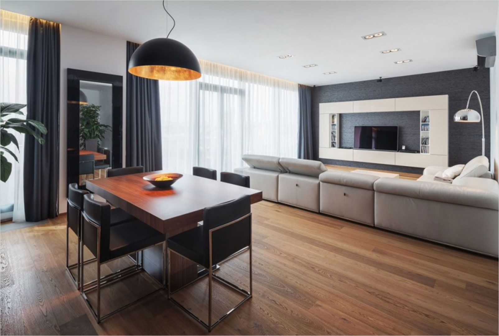 40 Perfect Modern Apartment Decor Ideas 89 Pleasant Oak Wood Flooring In Apartment Feat Modern Dining Furniture Units Under Hanging Lamp 1