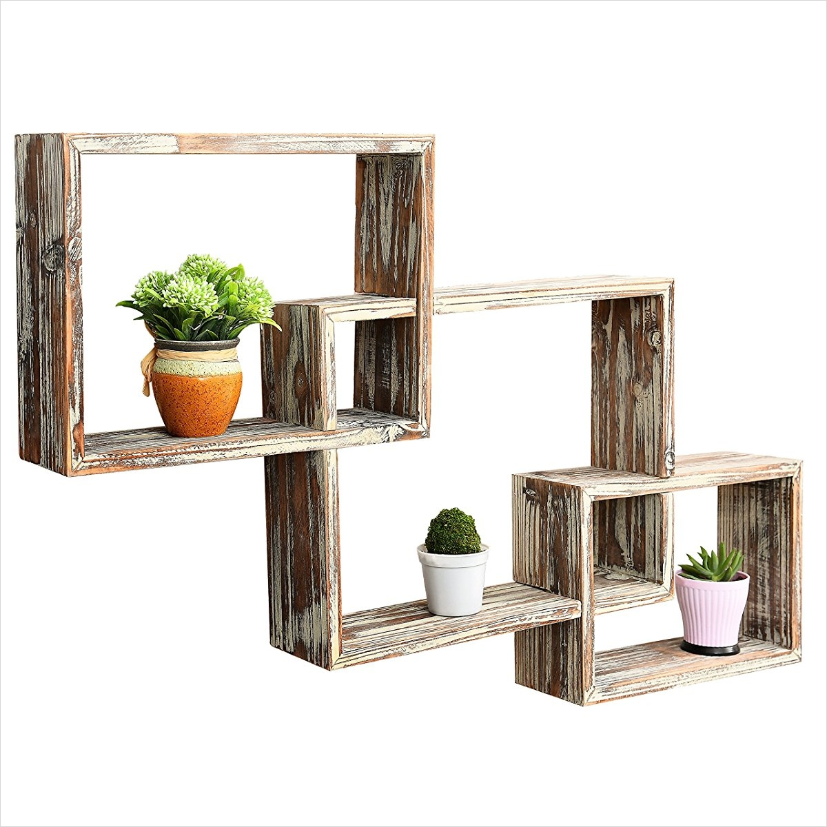 45 Creative Rustic Wall Mounted Bookshelves 42 Country Rustic 3 Tier Floating Box Shelves Decorative Wood Wall Mounted Display Shelf Brown 1