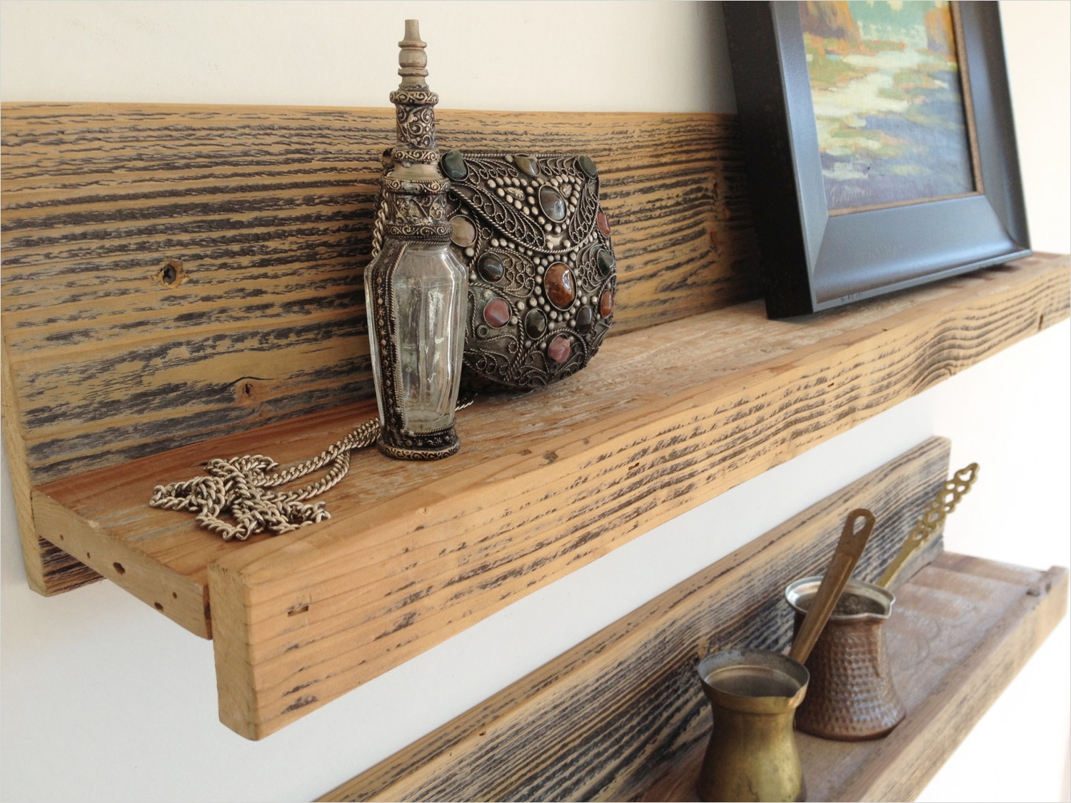 45 Creative Rustic Wall Mounted Bookshelves 23 24 Inch Rustic Reclaimed Wood Shelf for Home Studio Office 2
