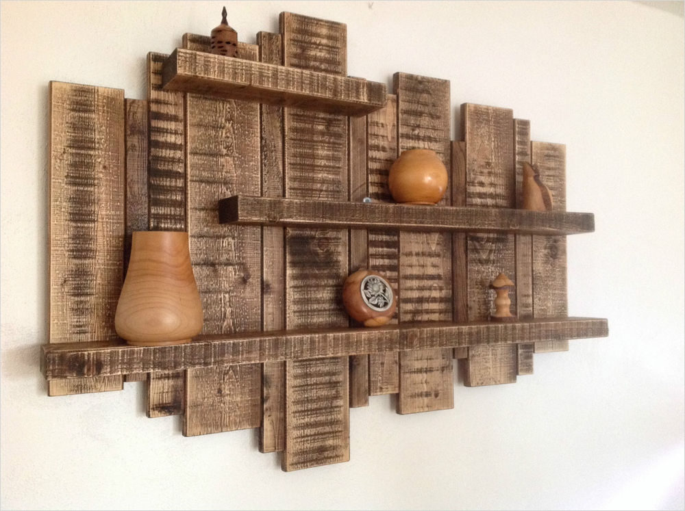 45 Creative Rustic Wall Mounted Bookshelves 35 Floating Shelf Shelves Rustic solid Reclaimed Wood Display Unit Sculpture Home 4