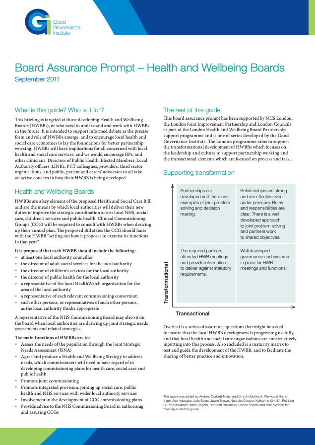 GGI Board Assurance Prompt for Health and Wellbeing Boards