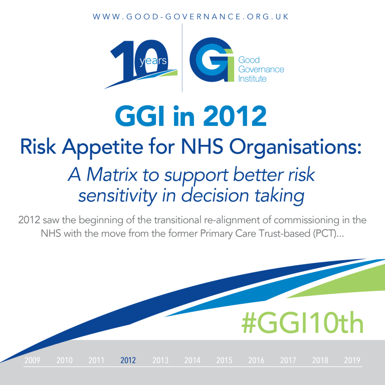 Good Governance Institute in 2012 - Risk Appetite for NHS Organisations
