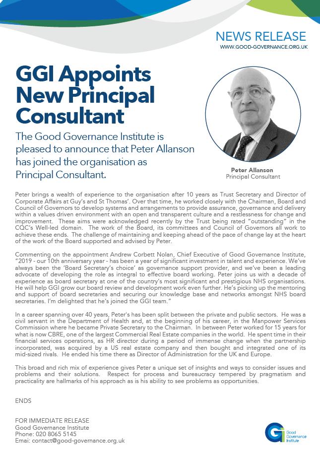 GGI Appoints New Principal Consultant