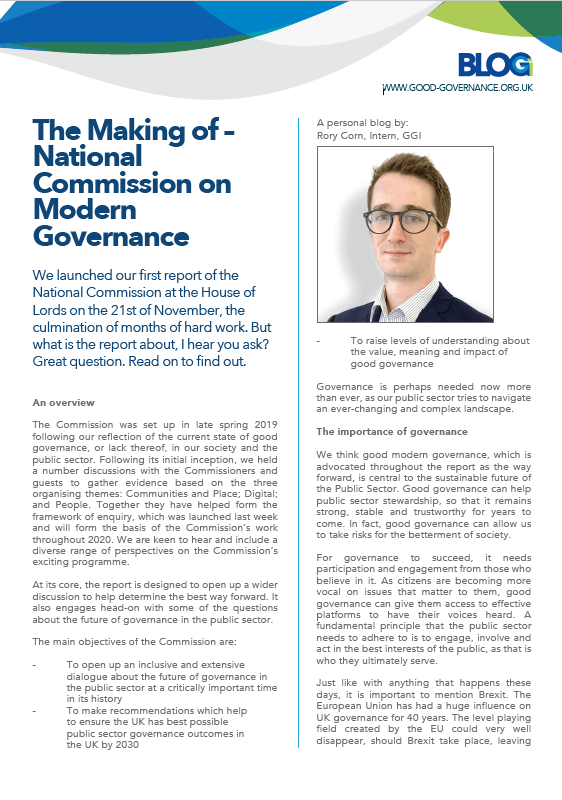 The Making of – National Commission on Modern Governance