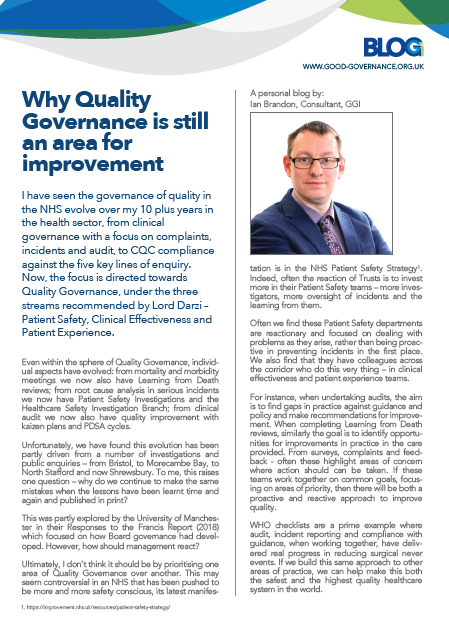 Why Quality Governance is still an area for improvement