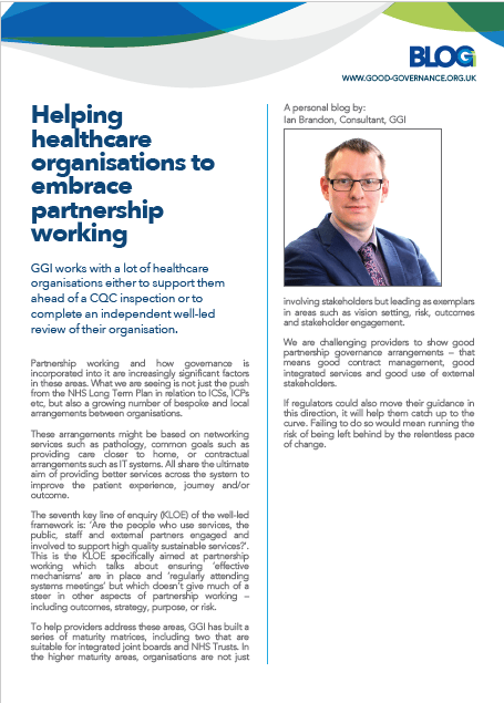 Helping healthcare organisations to embrace partnership working