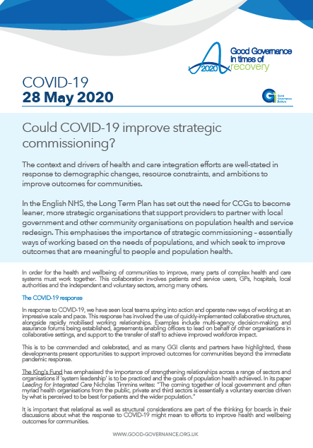 Could COVID-19 improve strategic commissioning?