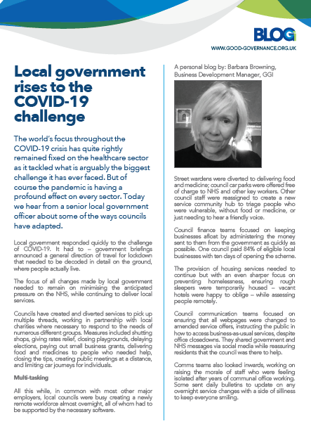 Local government rises to the COVID-19 challenge