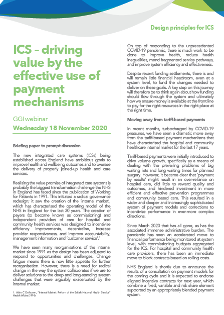 ICS – driving value by the effective use of payment mechanisms