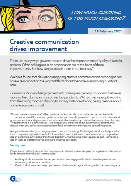 Creative communication drives improvement