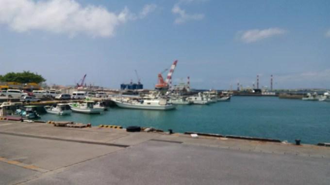 Naha port seen from Seafood Engan