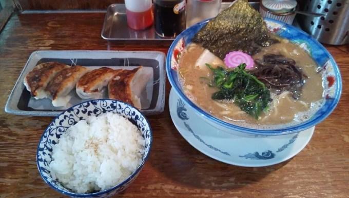 Tonkotsu soy sauce ramen, dumplings and rice