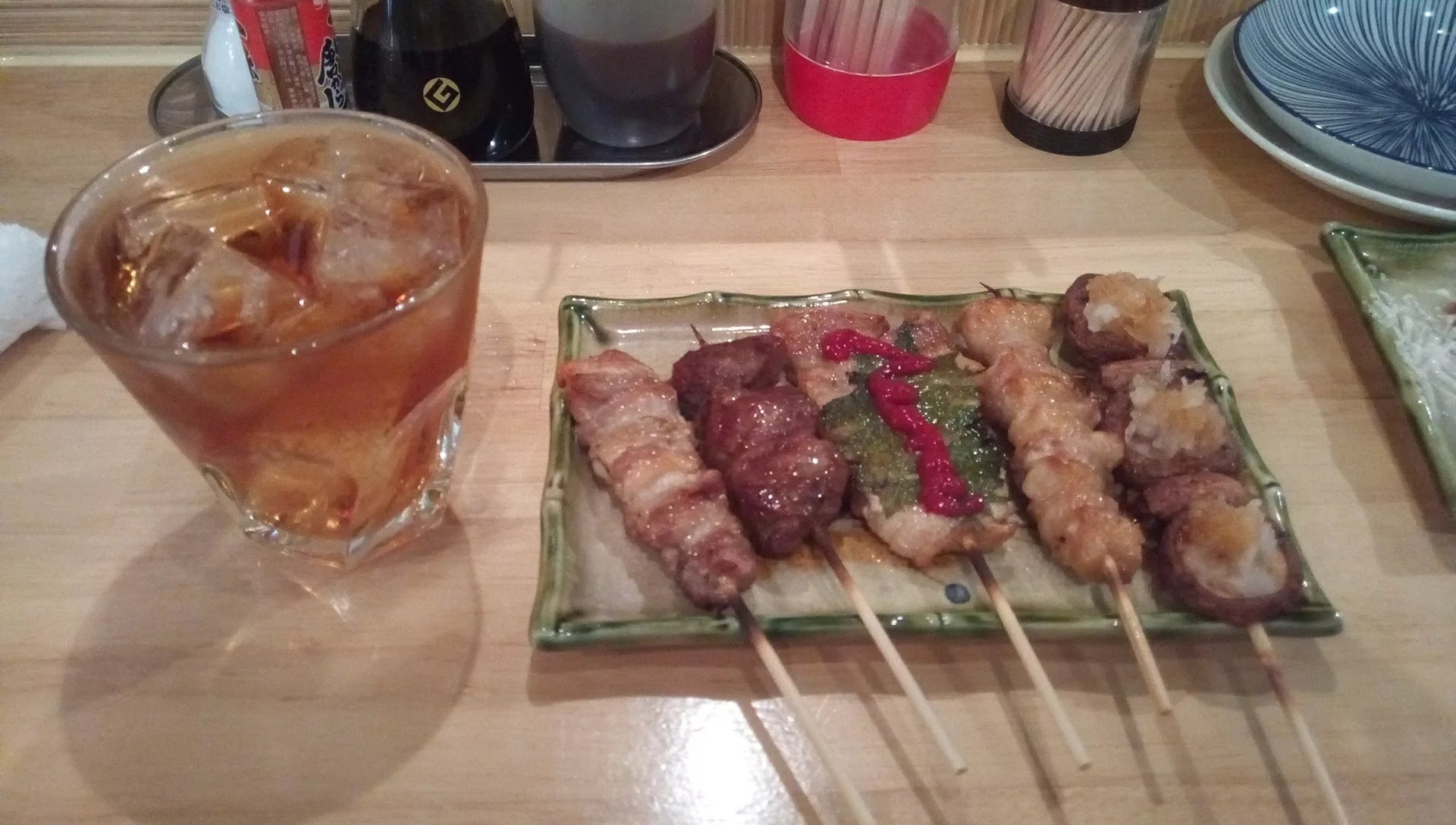 platter skewers and Umeshu (plum wine rock)