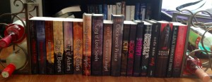 A long row of Cassie Clare, Sarah Rees Brennan and Holly Black books with wine bookends