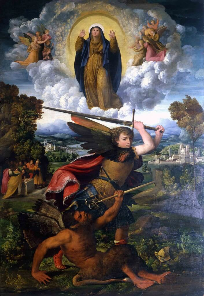 Virgin of the Assumption and St. Michael the Archangel by Dosso Dossi