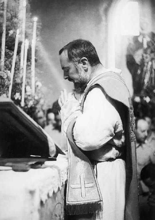 Padre Pio offers Holy Mass