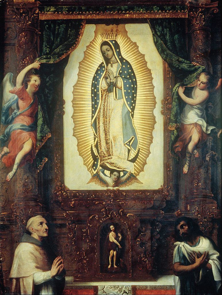 The altar image of Our Lady of Guadalupe with St. John the Baptist, Juan de Zumárraga and St. Juan Diego by Miguel Cabrera