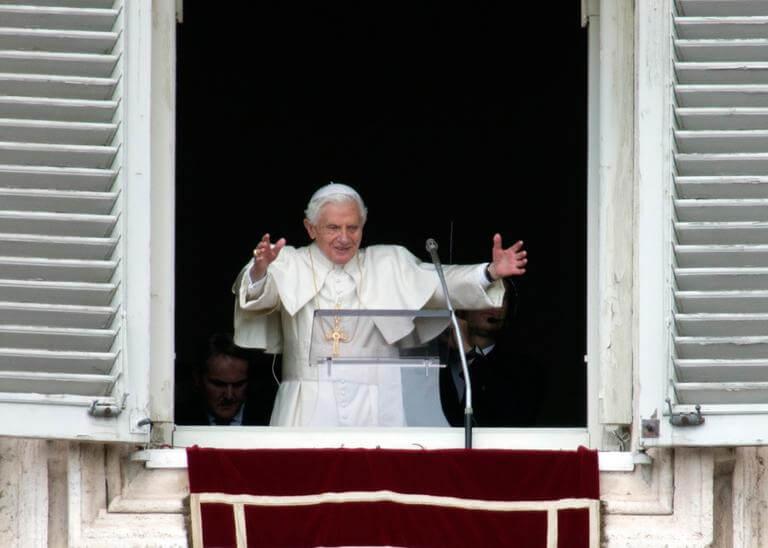Pope Benedict during his last Angelus noon prayer