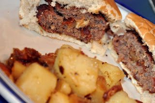 Bacon Stuffed Burgers and Hot German Potato Salad