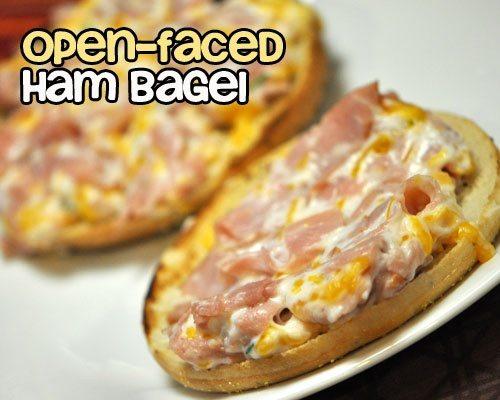 Open Faced Ham Bagel
