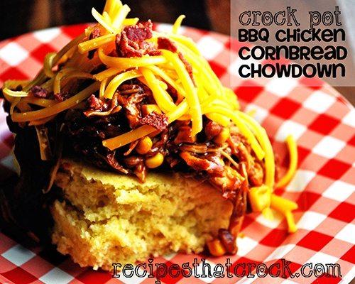 BBQ Chicken Cornbread Chowdown #Crockpot #SlowCooker