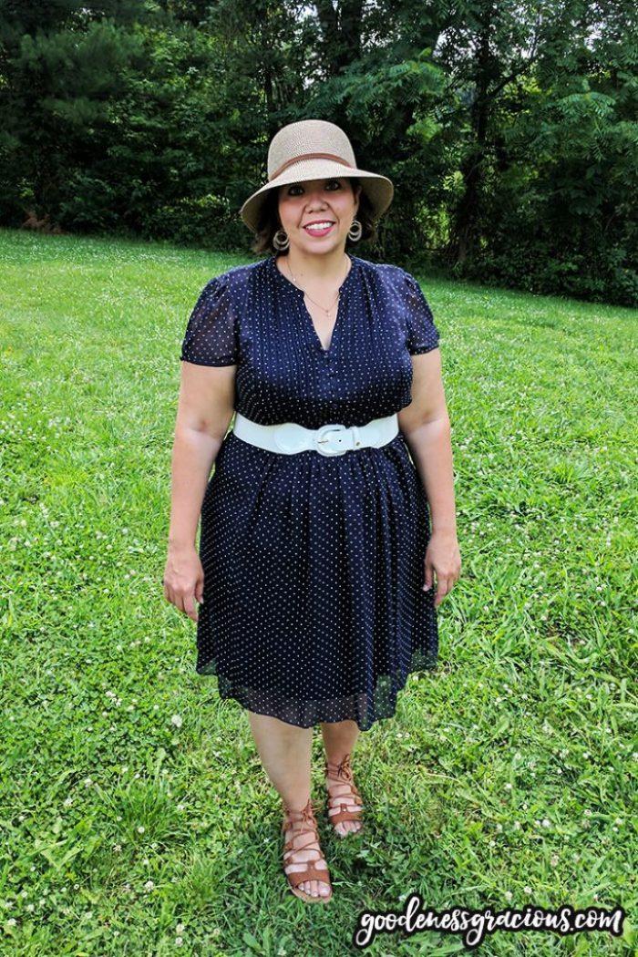 Cute Plus Size Clothing - Blue Dot Dress (Dressbarn), Hat and White Belt