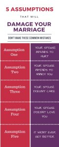 5 Assumptions that will damage your marriage. Are you making these common assumptions? You may be doing unintentional harm to your marriage.