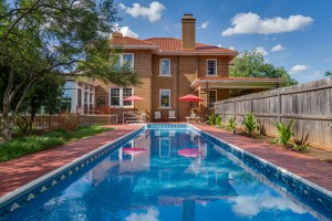 Real estate photo of a pool in Wichita Falls, TX, shot for local agent for a listing.