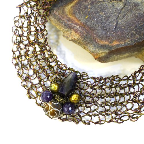 Handmade Vintage Crochet Wire Chainmail Necklace