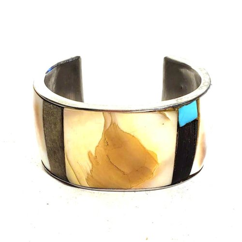 Large Native Inspired Sterling and Shell Cuff