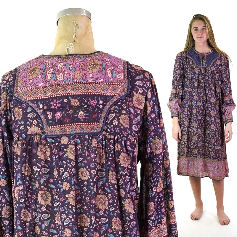 Vintage 70s Indian Cotton Gauze Dress with Quilted Yoke Size Medium