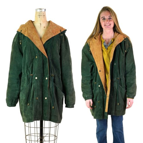 Suede Field Jacket With Hood Women's Size Large Vintage 90s