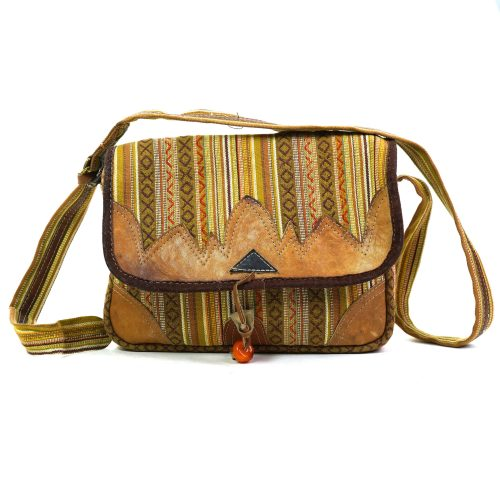 Vintage Handmade Messenger Bag in Boho Fabric with Leather Trim