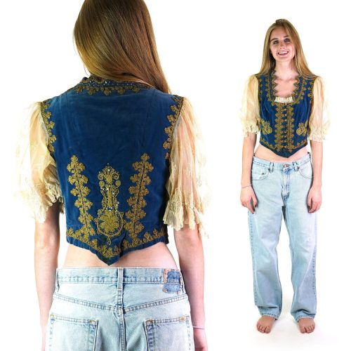 Antique Embroidered Velvet Bodice with Lace Sleeves