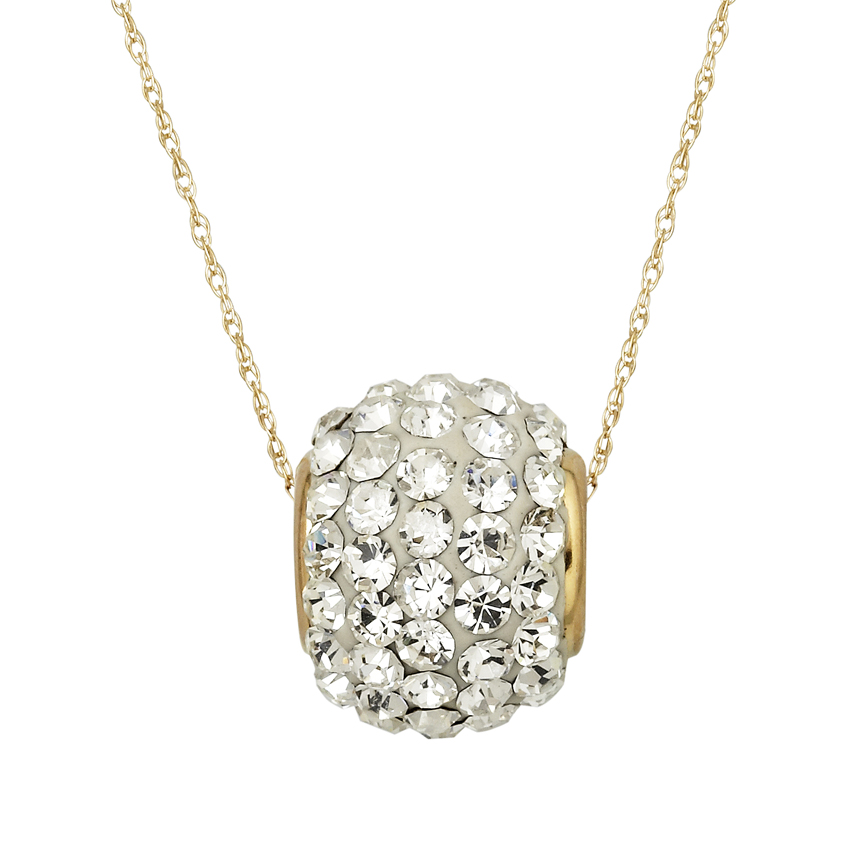 10KT Gold 11mm Clear Crystal Rollerball Necklace