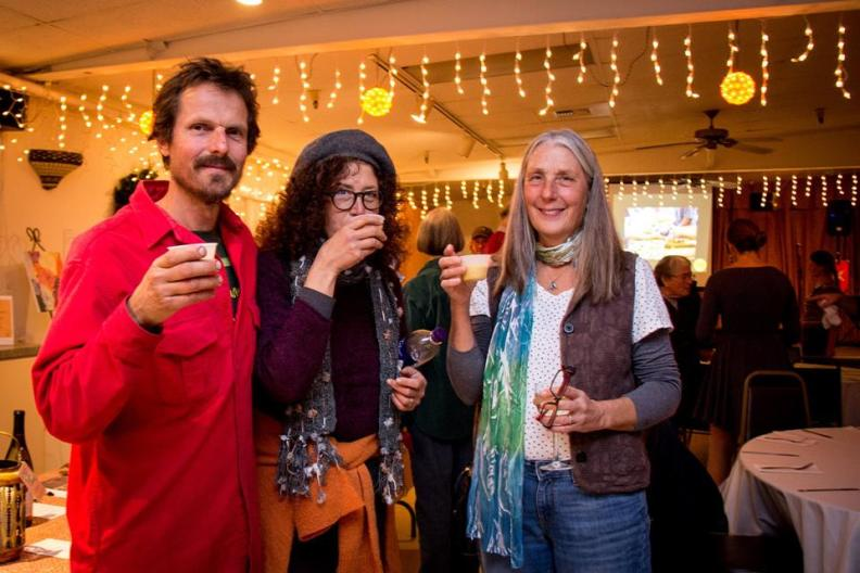 Photo caption: From left, farmers Bill Taylor and Jaye Moscariello of Floodgate Farm and Ukiah Farmer's Market customer Karen Mangan enjoy a squash soup appetizer at last year's event.