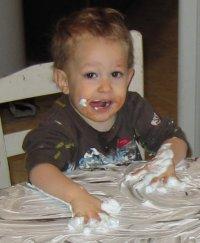 Nickalus having fun with the shaving cream