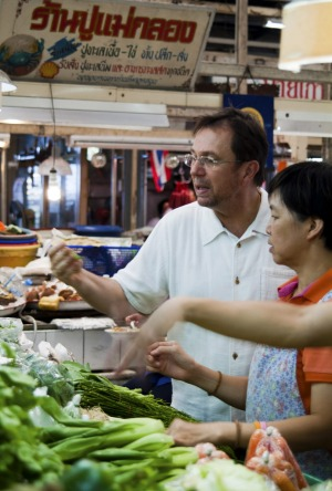 David Thompson shopping for produce at Or Tor Kor market.