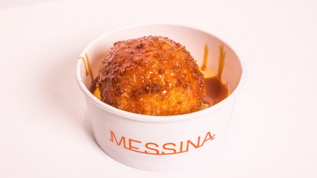 Fryer and Ice: hot and cool deep fried caramel and coconut gelato with a good splash of passionfruit caramel.