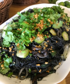 Pansit negra: squid ink noodles.