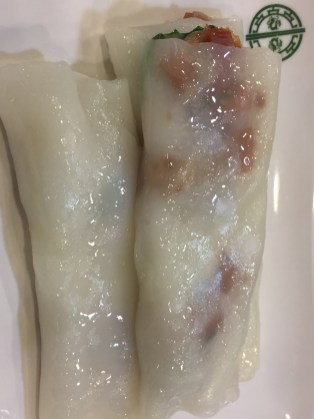 Steamed rice rolls stuffed with barbecued pork