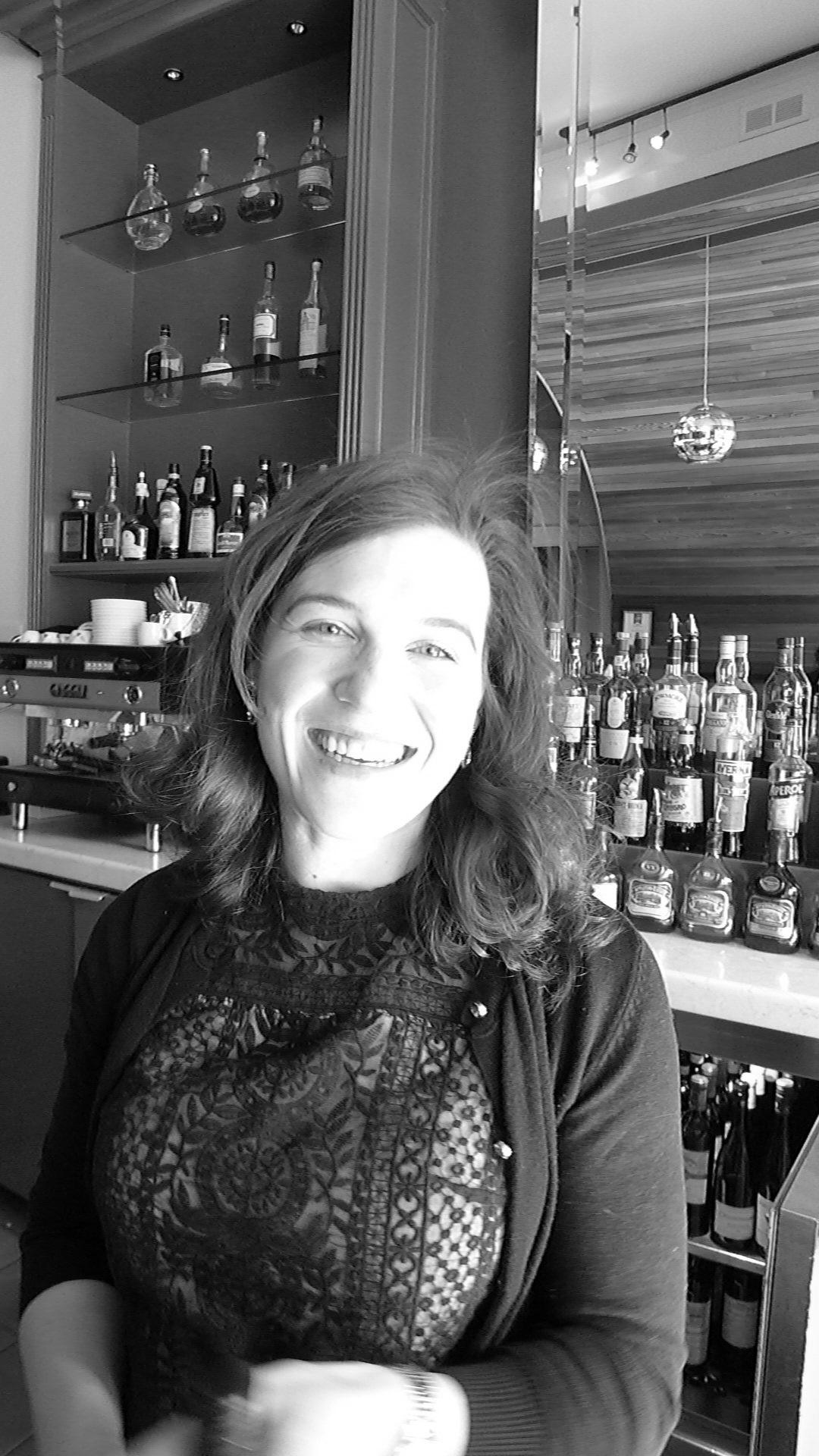 Splendido's Sommelier Ellen Jakobsmeier behind the bar.