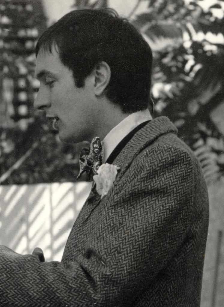 James Morris playing Algernon in an amateur production of Oscar Wilde's The Importance Of Being Earnest, 1975.