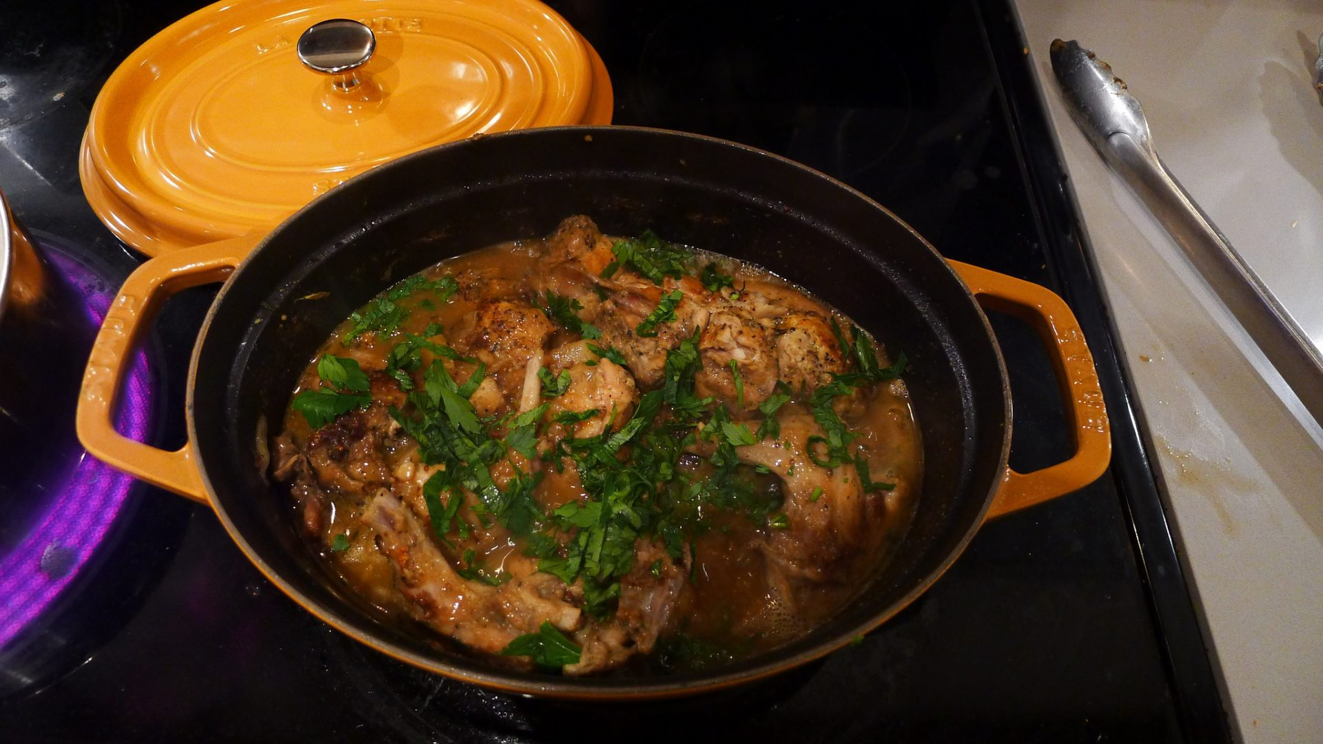 Causing a gastronomic revolution in the Drummond kitchen, here the cocotte provides a spot for some Rabbit Carbonade.