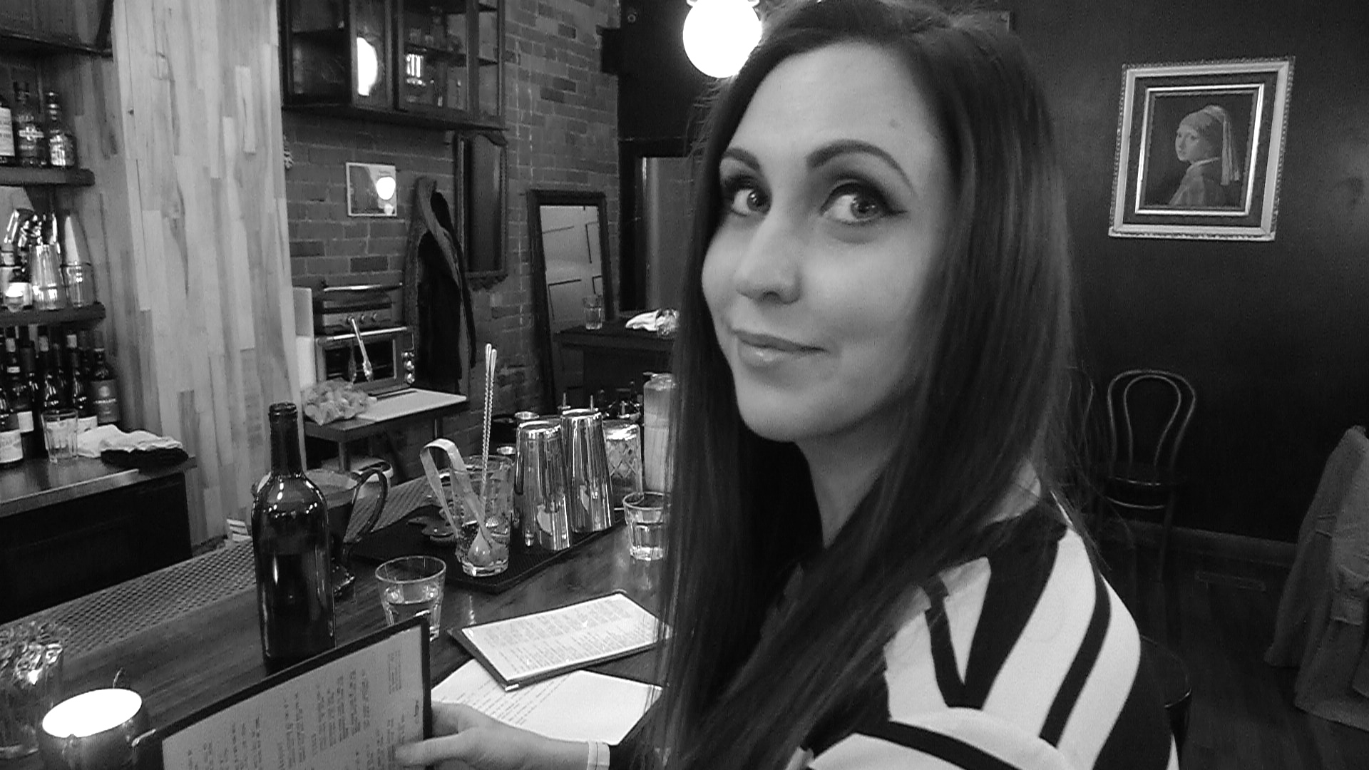 Emily Bilboa relaxing over a half pint of beer at Northern Belle.