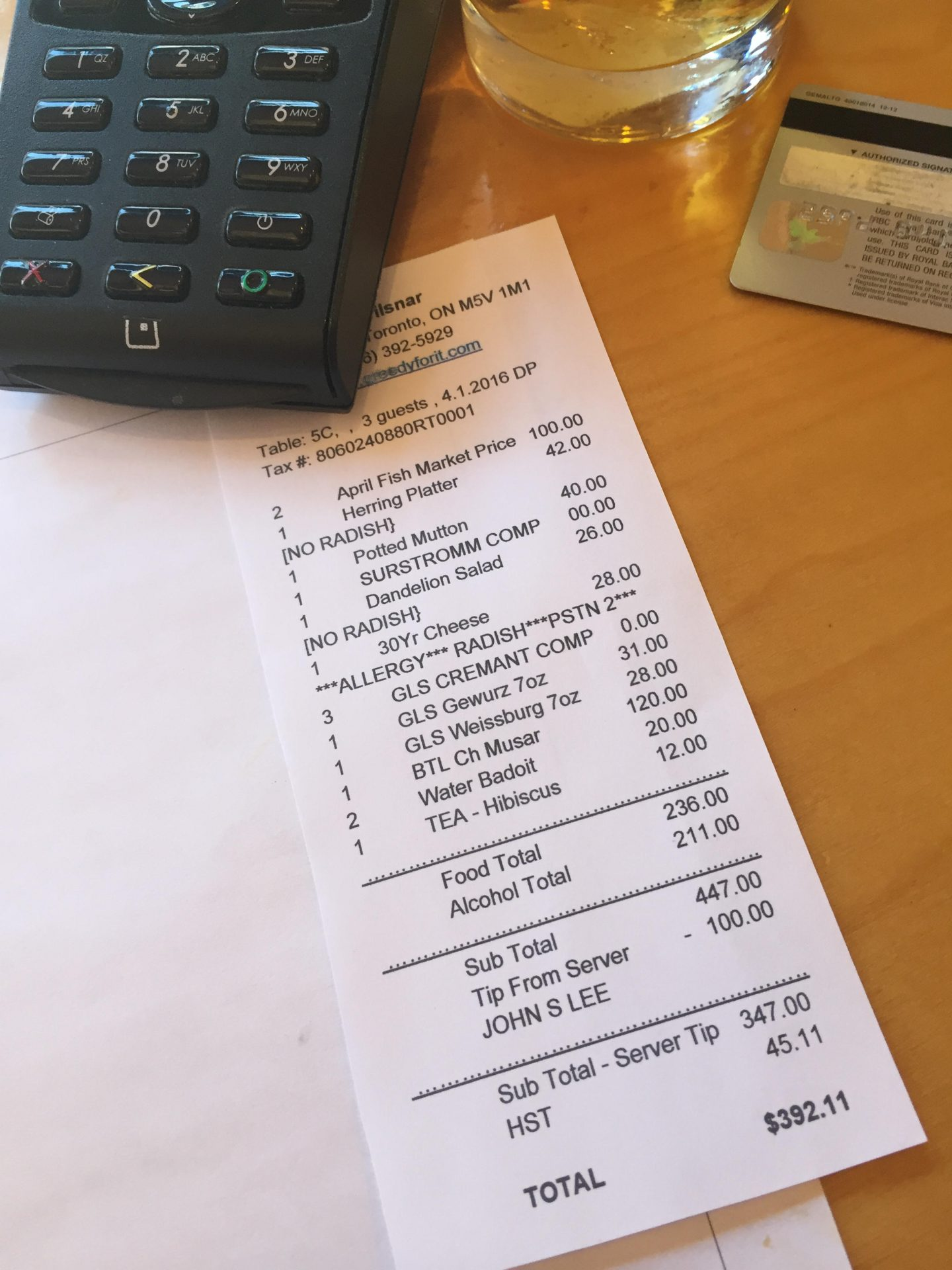 A typical bill at Toronto's recently opened Aprilsnar, featuring a tipping system that could prove to be revolutionary.