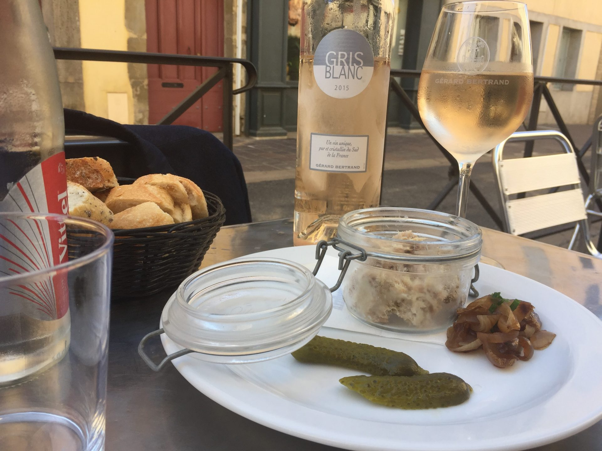 Gerard Bertrand's Gris Blanc Rosé was undoubtedly one of the crowd favourites, pictured here with rabbit rillettes.